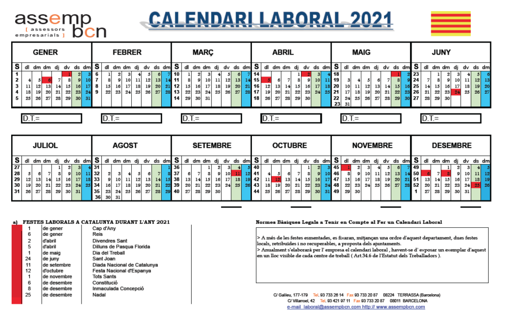 Calendari Laboral Catalunya 2021