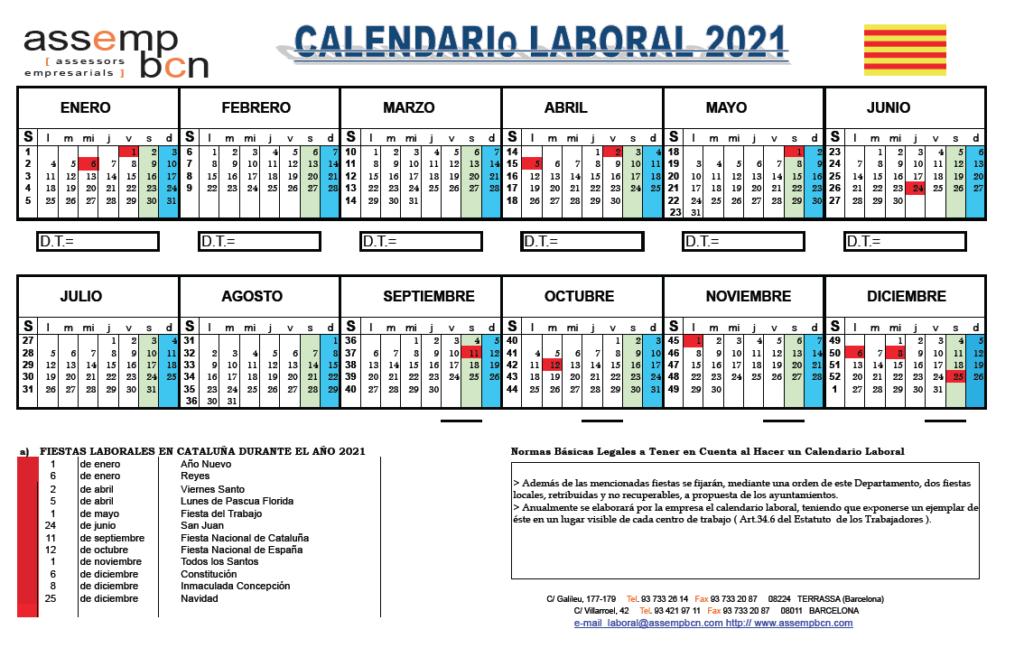 Calendario Laboral CAT 2021